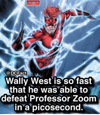 "Memes, Zoom, and 🤖: AS FAST AS  I CAN.  @DCFact  Wally West is sofast  that he was able to  defeat Professor Zoom  in▼a""picosecond. Wally West or Barry Allen? ⚡️"