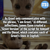 """Batman, Memes, and Superman: As Groot only communicates with  the phrase, """"I am Groot,"""" in different  inflections, James Gunn createda  root Version"""" of the script for himself  and Vin Diesel, which contains each of  Groot's lines in English. Would you wanna read this script?!- My other IG accounts @factsofflash @yourpoketrivia @webslingerfacts ⠀⠀⠀⠀⠀⠀⠀⠀⠀⠀⠀⠀⠀⠀⠀⠀⠀⠀⠀⠀⠀⠀⠀⠀⠀⠀⠀⠀⠀⠀⠀⠀⠀⠀⠀⠀ ⠀⠀--------------------- batmanvssuperman xmen batman superman wonderwoman deadpool spiderman hulk thor ironman marvel bluelantern theflash wolverine daredevil aquaman justiceleague homecoming blackpanther wallywest wadewilson redhood avengers zoom jasontodd vindiesel groot like4like injustice2"""