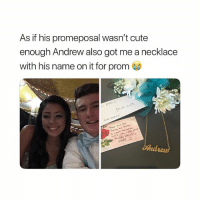 Cute, Link, and Girl Memes: As if his promeposal wasn't cute  enough Andrew also got me a necklace  with his name on it for prom I ship it 😍 Custom necklaces from @galaxyswap ❤️ link in bio