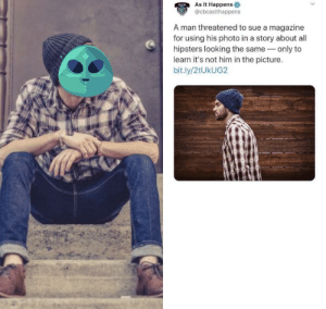 Dank, Memes, and Target: As It Happens  @cbcasithappens  A man threatened to sue a magazine  for using his photo in a story about all  hipsters looking the same only to  learn it's not him in the picture.  bit.ly/2tUkUG2 Me irl by jaysomething2 MORE MEMES