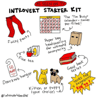 "Introvert, Memes, and Calendar: AS SEEN ON  INTROVERT STARTER KIT  The  ""I'm Busy  NNA  calendar  comes  pre-filled  Paper bag  on  head cover in  ultima  for  anony  lne tea  GO  DOC)  Sen  Door kno  Kitten or puppy  (your choice)  @introvertdoo ales I want a kitten and I don't like tea or coffee lol"