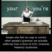Memes, Suffering, and 🤖: AS you're  your  FACTS  FACTORY  People who feel an urge to correct  other people's grammar are actually  suffering from a form of OCD, Grammar  Pedantry Syndrome.