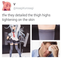 Dank, Tfw, and 🤖: Asagi Kurosagi  tfw they detailed the thigh highs  tightening on the skin