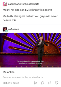 Dad, Tumblr, and Never: aseriesofunfortunatesharts  Me irl: No one can EVER know this secret  Me to 8k strangers online: You guys will never  believe this  sofiasacs  I've never talked to my dad about that  but I figured I would tell all of you.  Me online  Source: aseriesofunfortunatesharts  304,395 notes