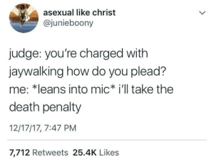 Asexual, Death, and Irl: asexual like christ  @junieboony  judge: you're charged with  jaywalking how do you plead?  me: *leans into mic i'll take the  death penalty  12/17/17, 7:47 PM  7,712 Retweets 25.4K Likes me irl