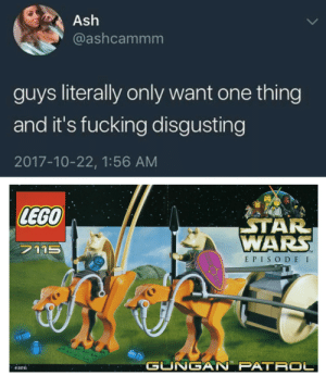 This will make a fine addition to my collection.: Ash  @ashcammm  guys literally only want one thing  and it's fucking disgusting  2017-10-22, 1:56 AM  LEGO  AR  WARS  7115  TM  E PISO DE I  TM  GUNGAN' PATR。  4128745 This will make a fine addition to my collection.