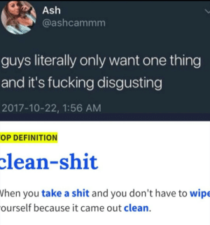 Ash, Fucking, and Shit: Ash  @ashcammm  guys literally only want one thing  and it's fucking disgusting  2017-10-22, 1:56 AM  OP DEFINITION  clean-shit  hen you take a shit and you don't have to wipe  ourself because it came out clean. Its me