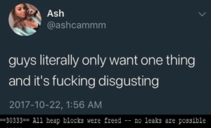no garbage collection is indeed disgusting: Ash  @ashcammm  guys literally only want one thing  and it's fucking disgusting  2017-10-22, 1:56 AM  -30333 All heap blocks were freed - no leaks are possible no garbage collection is indeed disgusting