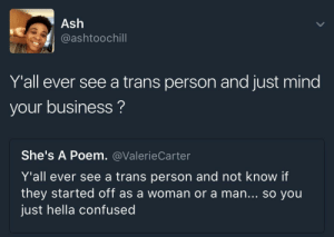 Ash, Confused, and Business: Ash  @ashtoochill  Y'all ever see a trans person and just mind  your business?  She's A Poem. @ValerieCarter  Y'all ever see a trans person and not know if  they started off as a woman or a man... so you  just hella confused