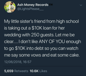Don't go broke acting rich by KingPZe FOLLOW HERE 4 MORE MEMES.: Ash Money Records  @LightsPlease  TM  My little sister's friend from high school  is taking out a $10K loan for her  wedding with 250 guests. Let me be  clear....I don't like ANY OF YOU enough  to go $10K into debt so you can watch  me say some vows and eat some cake  12/06/2018, 16:57  5,659 Retweets 10.6K Likes Don't go broke acting rich by KingPZe FOLLOW HERE 4 MORE MEMES.