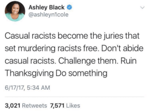 Do Something: Ashley Black  @ashleyn1cole  Casual racists become the juries that  set murdering racists free. Don't abide  casual racists. Challenge them. Ruin  Thanksgiving Do something  6/17/17, 5:34 AM  3,021 Retweets 7,571 Likes Do Something
