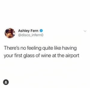 Wine, Quite, and Glass: Ashley Fern  @disco_infern0  There's no feeling quite like having  your first glass of wine at the airport