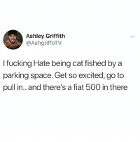 Fucking, Memes, and Fiat: Ashley Griffith  @AshgriffoTV  I fucking Hate being cat fished by a  parking space. Get so excited, go to  pull in.. and there's a fiat 500 in there 😂🤣