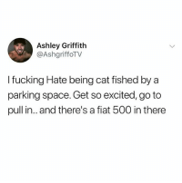 Catfished, Fucking, and Memes: Ashley Griffith  @AshgriffoTV  I fucking Hate being cat fished by a  parking space. Get so excited, go to  pull in.. and there's a fiat 500 in there Worst catfish of all!! (@girlwithnojob is the best account of 2018)