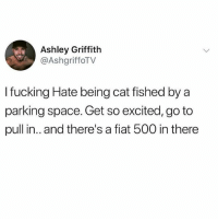 Fucking, Funny, and Fiat: Ashley Griffith  @AshgriffoTV  I fucking Hate being cat fished by a  parking space. Get so excited, go to  pull in.. and there's a fiat 500 in there Y'all know that feeling😩😂😂