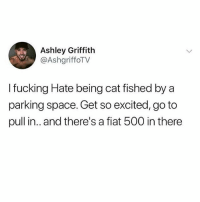Fucking, Memes, and Fiat: Ashley Griffith  @AshgriffoTV  I fucking Hate being cat fished by a  parking space. Get so excited, go to  pull in.. and there's a fiat 500 in there