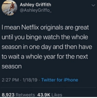 Bingeing Netflix: Ashley Griffith  @AshleyGriffo_  I mean Netflix originals are great  until you binge watch the whole  season in one day and then have  to wait a whole year for the next  season  2:27 PM 1/18/19 Twitter for iPhone  8,923 Retweets 43.9K Likes Bingeing Netflix