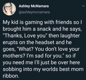 "This isnt mine but still really wholesome: Ashley McNamara  @ashleymcnamara  My kid is gaming with friends so l  brought him a snack and he says,  ""I hanks, Love you"" then laughter  erupts on the headset and he  goes, ""What? You dont love your  mothers? I'm sad for you."" so if  you need me I'll just be over here  sobbing into my worlds best mom  ribbon This isnt mine but still really wholesome"