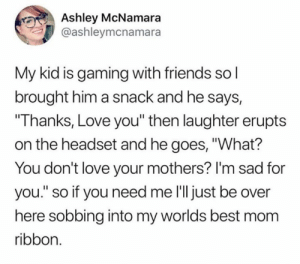"Best thing ever. ❤️  (via Twitter.com/ashleymcnamara): Ashley McNamara  @ashleymcnamara  My kid is gaming with friends so l  brought him a snack and he says,  ""Thanks, Love you"" then laughter erupts  on the headset and he goes, ""What?  You don't love your mothers? I'm sad for  you."" so if you need me l'll just be over  here sobbing into my worlds best mom  ribbon. Best thing ever. ❤️  (via Twitter.com/ashleymcnamara)"