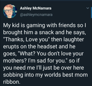 "A real gamer mom: Ashley McNamara  @ashleymcnamara  My kid is gaming with friends so I  brought him a snack and he says,  ""Thanks, Love you"" then laughter  erupts on the headset and he  goes, ""What? You don't love your  mothers? I'm sad for you."" so if  you need me l'll just be over here  sobbing into my worlds best mom  ribbon. A real gamer mom"