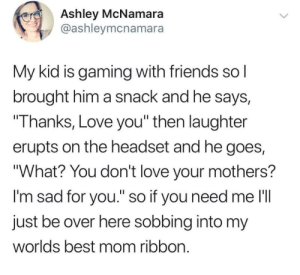 "wholesome son: Ashley McNamara  @ashleymcnamara  My kid is gaming with friends sol  brought him a snack and he says,  Thanks, Love you"" then laughter  erupts on the headset and he goes,  ""What? You don't love your mothers?  I'm sad for you."" so if you need me l'll  just be over here sobbing into my  worlds best mom ribbon wholesome son"