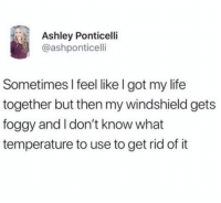 Life, Memes, and 🤖: Ashley Ponticelli  @ashponticelli  Sometimes l feel like l got my life  together but then my windshield gets  foggy and I don't know what  temperature to use to get rid of it I felt that😂