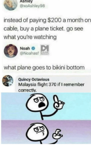 plane: Ashley  @xoAshley98  instead of paying $200 a month on  cable, buy a plane ticket. go see  what you're watching  Noah o DM  @Noahasf DANS  what plane goes to bikini bottom  Quincy Octavious  Malaysia flight 370 if I remember  correctly.