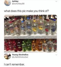 Memes, What Does, and 🤖: Ashley  @xoAshley98  what does this pic make you think of?  Young Alcoholics  @LifeWithAlcohol  l can't remember. 😂😂 @lolmynegga for the win!