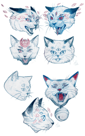 Tumblr, Blog, and Http: ashleysansoucie: Cat commissioned me to design a cat tattoo for her so here's the sketches! I had a lot of fun drawing these haha please don't use these!!