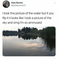 Omg, Water, and British: Asia Boone  @asiaboone12  I took this picture of the water but if you  flip it it looks like l took a picture of the  sky and omg I'm so ammused @studentproblems is one of my favourite pages rn😂