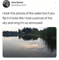 Memes, Omg, and Water: Asia Boone  @asiaboone12  I took this picture of the water but if you  flip it it looks like l took a picture of the  sky and omg I'm so ammused @_theblessedone is hilarious. An ABSOULTE must follow!