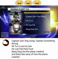 😂😂: ASIANA FLIGHT 214  PILOTS NAMES  Captain Sum Ting Wong  Wi Tu Lo  Ho Lee Fuk  Bang Ding Ow  KTIVUCOM  BRAIN  HUB  Captain sum ting wong- Captain Something  Wrong  Wi Tu Lo-we too low  Ho Lee Fuk-Holy Fuck  Bang Ding Ow-the plane crashed  and that's the story of how the plane  crashed 😂😂