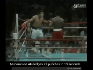 Ali, Facts, and Muhammad Ali: ASIC  Muhammad Ali dodges 21 punches in 10 seconds.  @factsweird mindblowingfactz:  Muhammad Ali dodges 21 punches in 10 seconds.  2 years ago today, the GOAT passed awayRIP