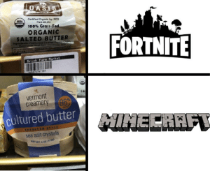 Anaconda, Vermont, and Dank Memes: ASIS  Certified Organic by: PCO  Plant #42-854  100% Grass-Fe  USDA  ORGANIC  SALTED BUTTER  FORTNITE  ingredlents  Brick Farm Market  4 75 761 164  14  vermont  creamery 86  cultured butter  EUROPEAN STYLE  sea salt crystals  NET WT 6 oZ 17 I see you are a man of culture as well!
