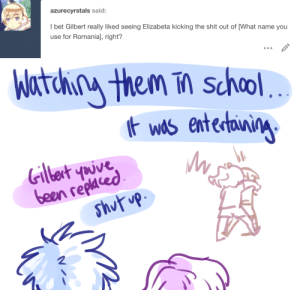 ask-art-student-prussia:  Gil: Liz picked a fight with every boy in our grade, I think.: ask-art-student-prussia:  Gil: Liz picked a fight with every boy in our grade, I think.
