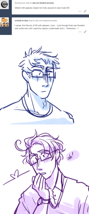 ask-art-student-prussia:  gilbert in glasses REALLY gives off dad vibes, youre right: ask-art-student-prussia:  gilbert in glasses REALLY gives off dad vibes, youre right