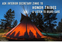 """""""We are encouraged by Secretary Zinke's record of working with and advocating for the interests of Tribes. We agree wholeheartedly with his statement that 'sovereignty should mean something,' and we look forward to meeting with him."""" - Davis Filfred, Navajo Nation Council Delegate  #StandWithBearsEars: Urge U.S. Department of the Interior Secretary Ryan Zinke to hear and honor Native voices! Act now: bearsearscoalition.org/action: ASK INTERIOR SECRETARY ZINKE TO  HONOR TRIBES  LISTEN TO BEARS EARS  Photo by Blake McCord """"We are encouraged by Secretary Zinke's record of working with and advocating for the interests of Tribes. We agree wholeheartedly with his statement that 'sovereignty should mean something,' and we look forward to meeting with him."""" - Davis Filfred, Navajo Nation Council Delegate  #StandWithBearsEars: Urge U.S. Department of the Interior Secretary Ryan Zinke to hear and honor Native voices! Act now: bearsearscoalition.org/action"""