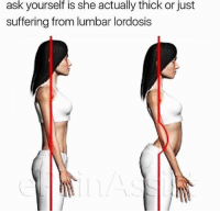 Dank Memes, Suffering, and Ask: ask  yourself  is  she  actually  thick  or just  suffering from lumbar lordosis