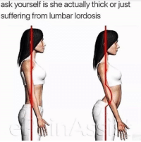 """Memes, Suffering, and 🤖: ask yourself is she actually thick or just  suffering from lumbar lordosis """"she ain't thick bro"""""""