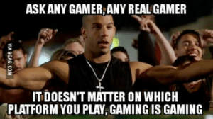 Gaming, Gamer, and Play: ASKANY GAMER,ANY REAL GAMER  IT DOESN'T MATTER ON WHICH  PLATFORM YOU PLAY, GAMING IS GAMING Stop it