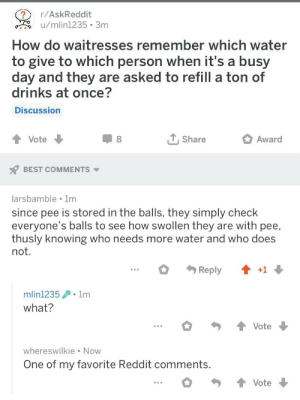 This is what you get for sorting by new: /AskReddit  u/mlin1235 3m  How do waitresses remember which water  to give to which person when it's a busy  day and they are asked to refill a ton of  drinks at once?  Discussion  Vote  Share  Award  BEST COMMENTS  larsbamble 1m  since pee is stored in the balls, they simply check  everyone's balls to see how swollen they are with pee,  thusly knowing who needs more water and who does  not  Reply  +1  mlin12351m  what?  Vote  whereswilkie Now  One of my favorite Reddit comments  Vote This is what you get for sorting by new