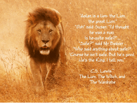 """Trump: Aslan is a Lion- the Lion.  the great Lion.  Ooh"""" said Busan. I'd thought  he was a mar.  is he quite safe  Safe said Mr Beaver  Who said anything about sefe  Course he isn't safe But he's good.  les the King I tell you  .5. Lewis  The Lion. The Vitch, and  The Vardrobe"""