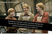 Girls, Memes, and Happy: asley Confession #3  Somewhere in my heart, I wish I was Ginny Weasley. Not  because she's Harry's girlfriend, but because she has the  greatest brothers someone can dream of. Eventhough she has to prove herself to her brothers as being the only girl, but I do believe she must have been very happy with her brothers anyway. *LittleTeddy