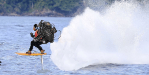 Asmal Roc Kethman on the first test run of his homemade jet powered surfboard. June 2019: Asmal Roc Kethman on the first test run of his homemade jet powered surfboard. June 2019