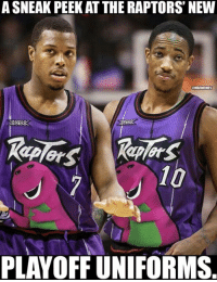 Nba, New, and Peek: ASNEAK PEEK AT THE RAPTORS' NEW  ONBAMEMES  10  PLAYOFF UNIFORMS Appropriate. #Raptors Nation  Credit: @MickRandallHS