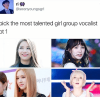 Memes, 🤖, and Luna: asoonyoungsgrl  pick the most talented girl group vocalist  ot where's Luna, minah . . . . . . Credit to owner✌