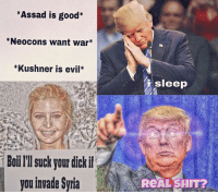 *Assad is good  *Neocons want war  *Kushner is evil  Boiilll suck your dick if  you invade Sria  sleep  ReAL SHIT? Ivanka probably be giving Trump that neck till he pass out. No matter he wants to go to war ivanka trump meme syria • @naturalworldorder @nationalist.flv4