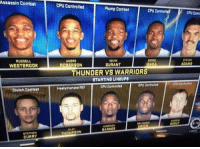 Kevin Durant, Memes, and Russell Westbrook: Assassin Combat  RUSSELL  WESTBROOK  Clutch Dombat  CURRY  CPU Controlled  Plump Combat  CPU Contra  ANDRE  KEVIN  DURANT  IBAKA  OBERSON  THUNDER VS WARRIORS  STARTINGLINEUPS  CPU Controlled  Healymonster?17  BARNES  KLAY  CPU Contr  ADAMS Smile if your season's over