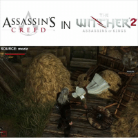 Assassination, Easter, and Memes: ASSASSINS IN  WIT HER2  ASSASSINS SOURCE: moziz  BARRICADE  Ddeat the ballistaydelenders and Did you know this Assassin's Creed easter egg is in The Witcher 2? 🙃
