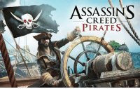 ASSASSINS  PIRATES Today I'm playing ASSASSIN'S CREED PIRATES.  This game seems to be either before or after Black Flag. It's on the play store on android. The music is basically that of Black Flag and some of the Voice acting is too. The graphics are that of a PS2 at best with cut-a-ways of hand drawn cartoon like sections explaining the story. You're a pirate on a ship taking down other ships.   The controls are nicely done, the game play is smooth, and you can even turn on tilt control (if you're into tilt controls). What I like about it is the idea of Assassin's Creed and the fact that it's pirates. Maybe cause I like the Assassin's Creed Franchise so much, Black Flag was honestly my favorite.   Same mechanics, same type of deal but broken down a bit smaller to play on Android devices. It's free to play and I would recommend downloading this game ASAP!  8/10